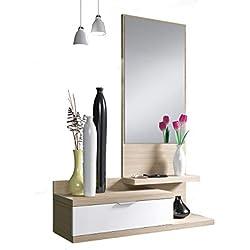 Recibidor de un cajón y Espejo, Color Blanco Brillo y Nature, Dimensiones 116 x 81 x 29cm de Fondo