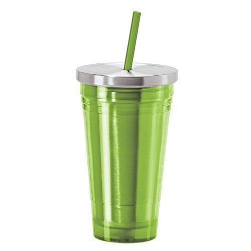 Edelstahl-liner (Acryl-Zahnputzbecher mit Edelstahl-Liner & als 5Stück Stroh Einschlag (grün) von Oggi)