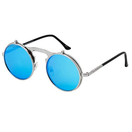 UltraByEasyPeasyStore Silber mit Eisblauen Linsen Rundum Klapp-Steampunk Unisex-Sonnenbrille UV400 UVA UVB Schutz Retro Männer Frauen Brille Vintage