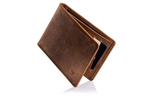 Klein Leder (ETAVI® Slim Wallet Tallinn mit Münzfach - Mini Geldbeutel RFID Schutz - Kleine Leder Geldbörse für Herren und Damen Portemonnaie Männer Portmonee)