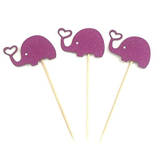 rfrrsss Klassisch 10 STK Baby Dusche Elefant Cupcake Deckel Geburtstag Hochzeit Kuchen Dekoration für Wohndeko - Lila