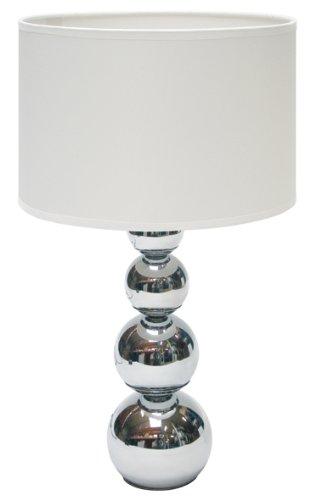 Foto de Ranex Mandy - Lámpara de mesa con función táctil, metal cromado y tela, color blanco