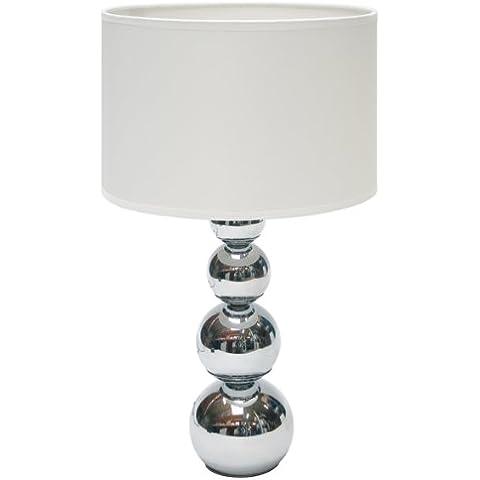 ranex mandy lmpara de mesa con funcin tctil metal cromado y tela color
