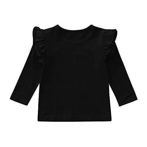 XXYsm Baby Mädchen Langarmshirt Pullover Tops Oberteile Langarm T-Shirts Blusen Schwarz ❤90/12-18 Monate