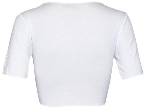 Da donna nuovo tinta unita anteriore regolabile cravatta da donna a maniche corte bolero top ritagliata cardigan Coprispalle Bianco