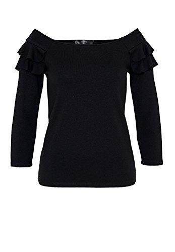 HALLHUBER Off-Shoulder-Shirt mit Rüschen tailliert geschnitten Schwarz