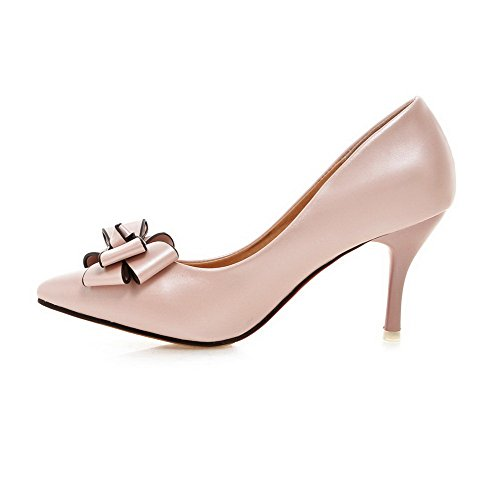 AgooLar Damen Stiletto Rein Weiches Material Spitz Schließen Zehe Pumps Schuhe Pink