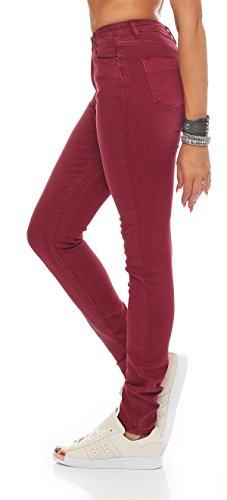 SKUTARI Damen - Skinny Röhren Jeans Hose Stretch High Waist Rot