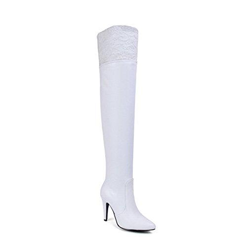 AgooLar Damen Hoher Absatz Hoch-Spitze Rein Reißverschluss Stiefel, Weiß, 38