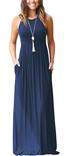 VIISHOW Frauen ärmellos Bodenlangen kausalen Ebene Lose Maxi Tasche Kleid (Navy Blau S) Die Manuelle Ebene