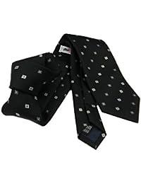 Avantgarde Cravatta in seta nera disegno fiorellino tinta su tinta nero  grigio elegante uom 144ae9184d6b
