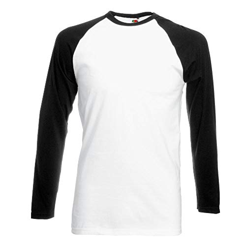 "Fruit of the Loom - Kontrast Langarm-Shirt ""Baseball Longsleeve T\"" L,White/Black"