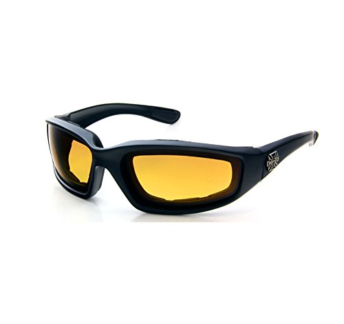 Solar Sunglasses Chopper Bernstein Objektive Schaumstoff gepolstert und Skibrillen Sonnenbrillen Gelb