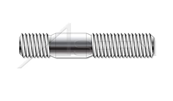 Screw-in End 1.0 X Diameter Metric Double-Ended Stud with Plain Center 100 pcs M12-1.75 X 25mm A4 Stainless Steel DIN 938
