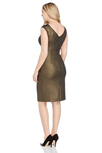 Roman Originals - Robe Femme Col V Flatteur - Doré Or