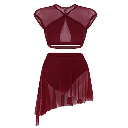 (Freebily 2 Pcs Damen Mädchen Lyrisch Tanzkleid Ballettkleid Tanz Outfits Crop Tops mit Asymmetrischem Rock Tanz-Body Gymnastikanzug Latin Tanz Kleidung Set Kostüm Weinrot X-Small)