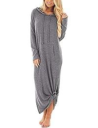 ABsolute Vestido Bolsillos Vestidos de Mujer, Maxi Largo sólido con Capucha y Manga Larga Casual