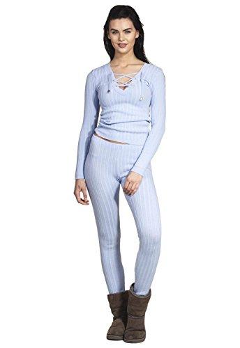 Pyjama Jumpsuit Homewear Hausanzug Jogger Rip Strickware mit V-Ausschnitt Oberteil Hose Set Schnüre Strick Cords Neck Zweiteiler Babyblau M/L
