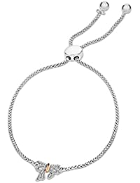 Pave Prive Women's 925 Sterling Silver Round White Diamonds Small Bow Tie Bolo Charm Bracelet