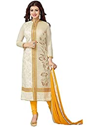 AnK Festive Sale offer Cream & Yellow Cotton Embroidered Straight Semi stitched Salwar Suit