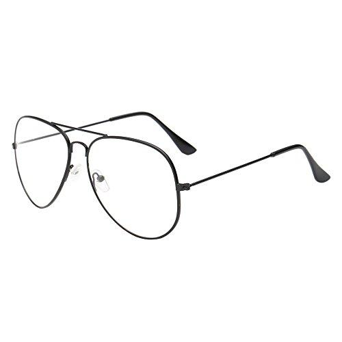 VRTUR Metall Frame Runde Brille Retro Metall Klare Linse Brille, Unisex,Schwarz, Golden, Silbern...