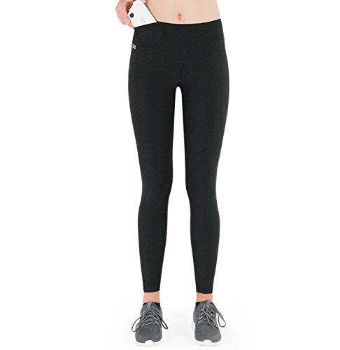 Formbelt® Damen Laufhose mit Tasche lang - Leggins Stretch-Hose Bund-Tasche für Smartphone iPhone Handy Schlüssel schwarz XXL