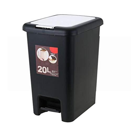 Kunststoff Umwelt Mülleimer mit Deckel große kommerzielle Büro Küche Restaurant Platz Badezimmer Badezimmer (Farbe : SCHWARZ, größe : 15L)