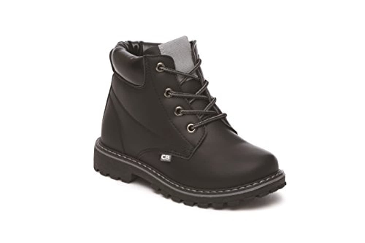 Boys Lace Up Boots School Formal Winter Trendy (UK 8 Infant, Black)