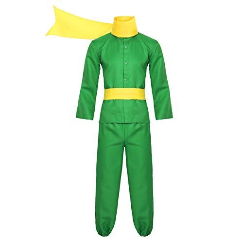 FEESHOW Herrn Prinz Cosplay Kostüm Outfit Männer Erwachsene Frankreich Cartoon Rollenspiel Overall Halloween Karneval Fasching Bekleidung Grün Medium