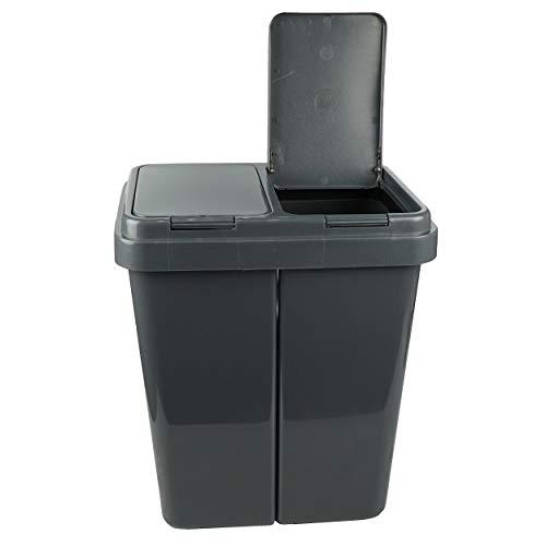 Alpfa Müllbehälter 2 x 25 L Duo Bin Mülleimer GRAU