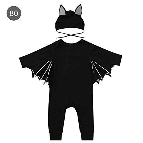Strampler Spielanzug Kleinkind Abendkleid Schwarz Fledermaus Kostüm Schläger Halloween Cosplay Ausstattungs Neugeborene Kleidung-Baumwolle -Batman lang-sleeved kleidet,0-12 monate ()