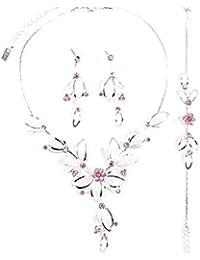 Schmuckanthony Best Seller Brautschmuck Hochzeit Schmuckset Netz Kette lange Ohrringe Armband Blumen Kristall Pastell Rosa Pink