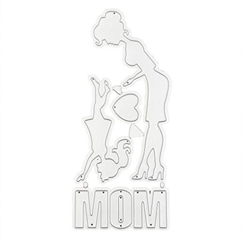 RUINAIER Fustella in acciaio al carbonio per la festa della mamma, la figlia, stencil per goffratura fai da te per carta, scrapbooking, segnalibro, biglietti, decorazione
