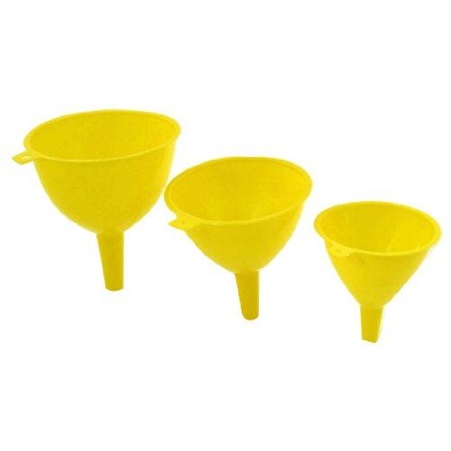 Sourcingmap® 3 in 1 Küche gelbes Plastik 123mm 108mm 93mm Dmr. Wasser Öl Flüssigkeit Trichter de