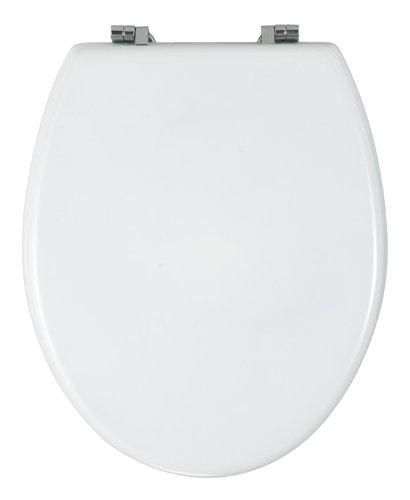 WENKO 16705100 Asiento tapa WC Bali - sujeción de acero inox, MDF, 36.3 x 43.2 cm, Blanco