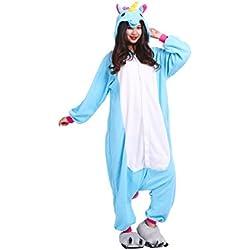 YUWELL Unicornio Kigurumi Cartoon Animal Navidad Cosplay Pijama Traje Disfraz de Halloween, Nuevo unicornio azul S (Height:150-160cm)