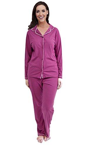 Dames Uni Coton Traditionnel Pyjama Ensemble Rose Foncé