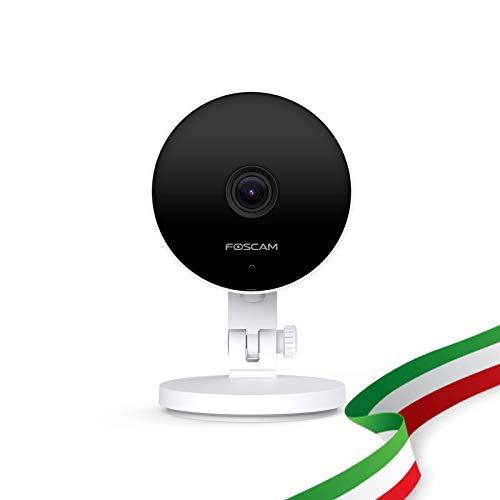 foscam c2m telecamera ip wifi 5 ghz hd 1080p (2.0 megapixel), visione notturna, motion detection, e-mail alert, microsd slot, onvif, p2p, plug & play, cloud compatibile con alexa