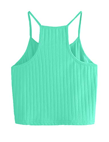 THE BLAZZE Women's Sleeveless Crop Tops Sexy Strappy Tees (M, Reliance Green)