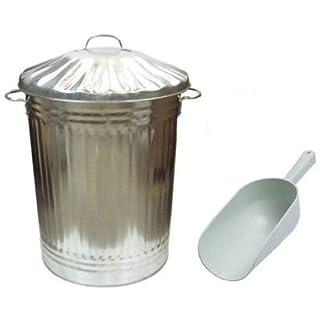 Large Metal Bin Dustbin / Bird Seed / Animal / Horse / Chicken / Feed / Food / Storage + SCOOP