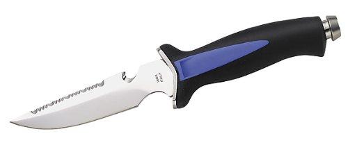 Tauchermesser, Rückensäge, gummierter Kunststoff-Griff, Kunststoff-Scheide
