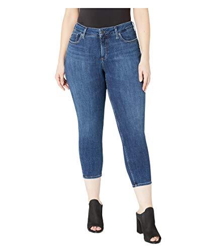Silver Jeans Co. Damen Plus Size Suki Mid-Rise Curvy Skinny Crop Jeans, Power Stretch Dark, 24W x 25L -