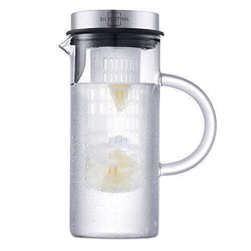 SILBERTHAL Glaskaraffe mit Deckel - 1l Karaffe mit Fruchteinsatz - Spülmaschinenfest