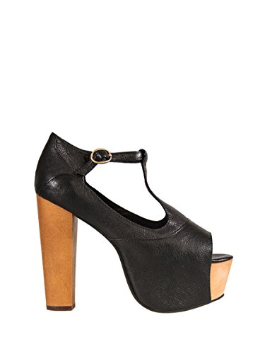 Jeffrey Campbell Foxy Leather, Sandali con tacco, Donna, Beige, 39 EU (5 UK) Black