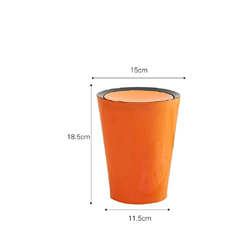 WFL Desktop Shake Abdeckung Mülleimer Kunststoff-Lagerplatz, Candy Farbe Tabelle Schutt Eimer, Schlafzimmer Wohnzimmer Mülleimer,Orange,2L