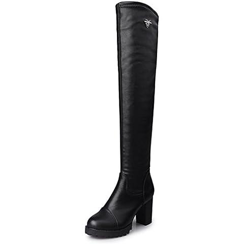 Minetom Mujer Invierno Largo Botas Hasta La Rodilla Boots Elástico Tacón Alto Boots Botas De Cuero