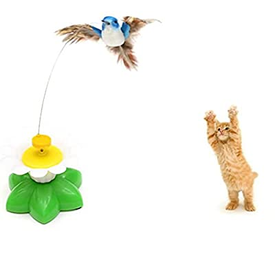 VENMO Kitten Cat Electric Swivel Seat Birdie Interactive Toys Tease Cat Bird Toy Fun Funny AAA Batteries Required (Color random, without Batteries)