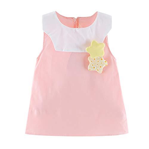 squarex Sommer Kleinkind Baby Mädchen Kinder ärmellose Cartoon Solid Color Rock Puppe Kragen Polka Dot Sterne Print Solid Kleid Kleidung