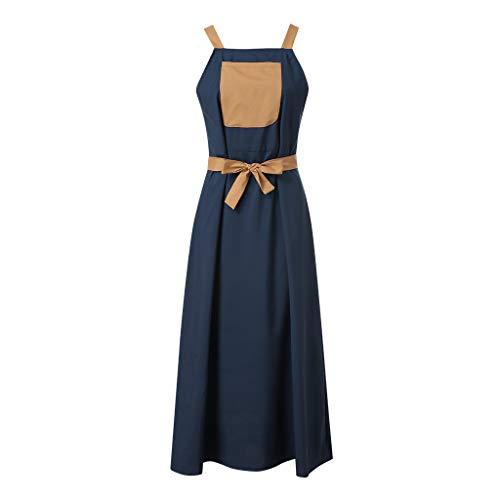 COCODE ÄRmelloses Damenkleid Aus Fester Baumwolle Und Leinen Frauen O-Ausschnitt Festes Kleid äRmellose Lose BeiläUfige Tasche Mini Leinen Kleid