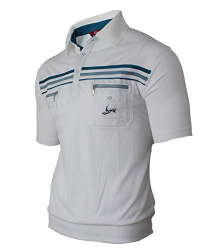 Soltice Herren Kurzarm Gestreifte Poloshirts, Polohemden, Blousonshirts mit Knopfleiste aus hochwertiger Baumwolle (M bis 3XL) (M, [A] Weiß-Türkis)